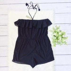 NWT J. Crew Black Sleeveless Shorts Romper #751